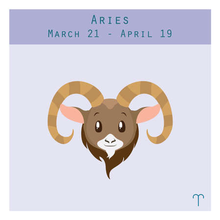 duration: Cartoon Aries zodiac sign with duration and symbol in lower corner