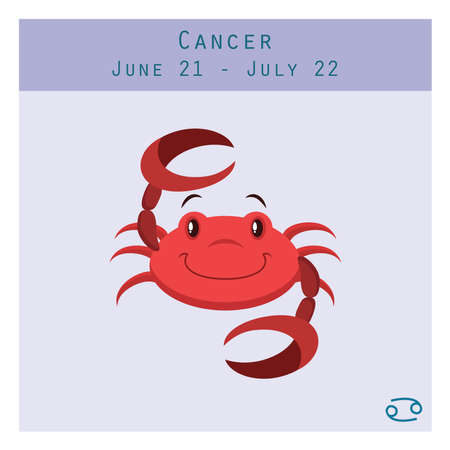 Cartoon Cancer zodiac sign with duration and symbol in lower corner
