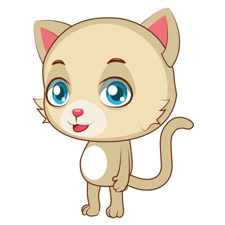 tomcat: Yellow cat standing upright Illustration