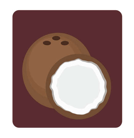 coco: Coconut and its half illustration on dark background