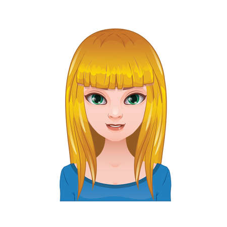 long straight hair: Blonde woman with long straight hair and bangs