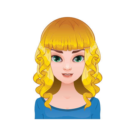 pigtails: Blonde woman with pigtails with curly hair