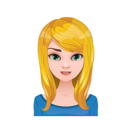 pigtails: Blonde woman with pigtails with long hair Illustration