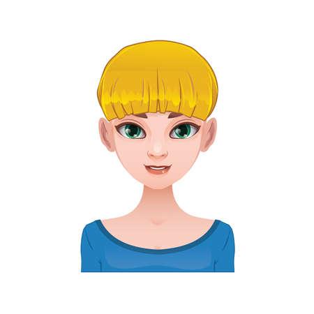 bangs: Blonde woman with short hair and bangs