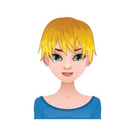 spiky hair: Blonde woman with short spiky hair