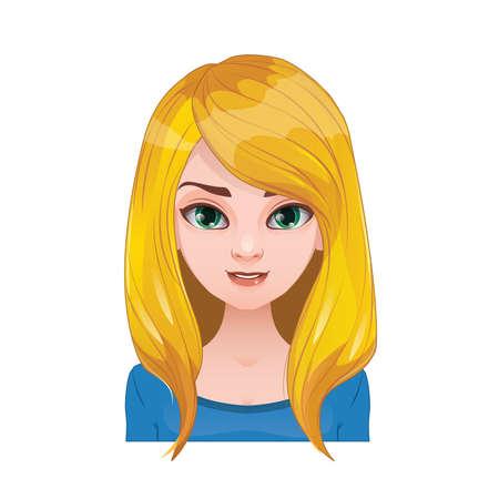 Blonde Frau mit langen offenen Haaren