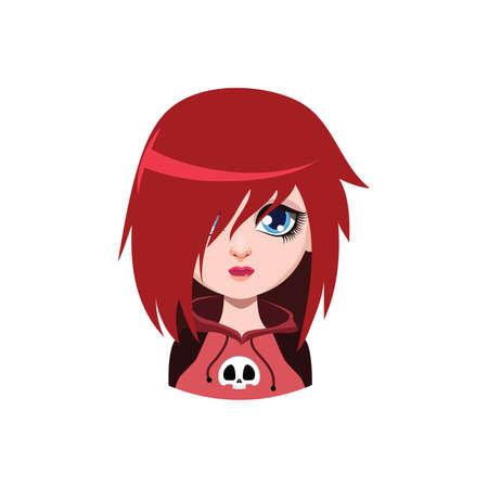 Emo girl - red hair color Illustration