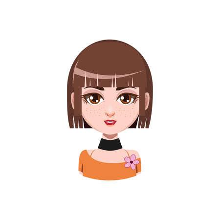medium: Girl with medium length hair - brown hair color