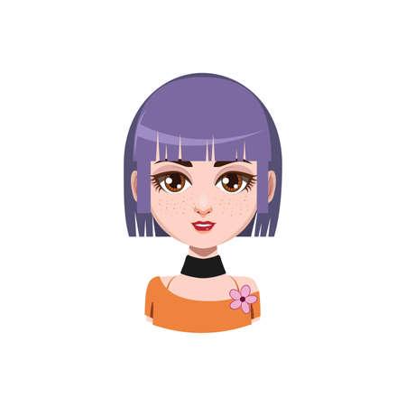 medium: Girl with medium length hair - violet hair color