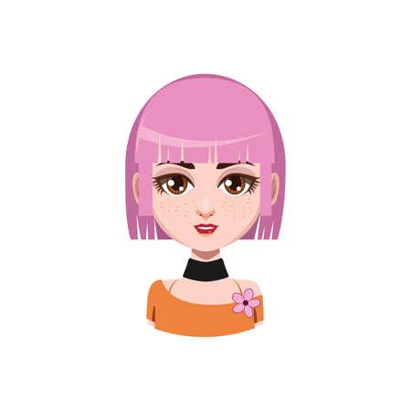medium length hair: Girl with medium length hair - pink hair color Illustration