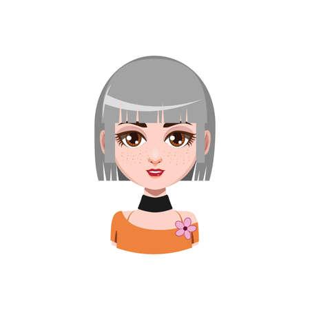 medium length hair: Girl with medium length hair - gray hair color Illustration