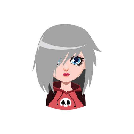 Emo girl -  gray hair color