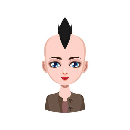 mohawk: Girl with mohawk - black hair color