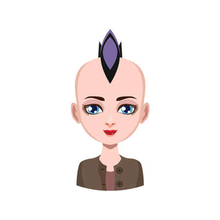 Girl with mohawk - violet hair color