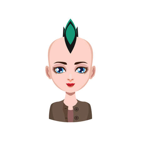 Girl with mohawk - green hair color