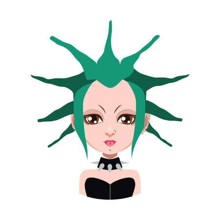 Girl with extreme hairstyle - green hair color