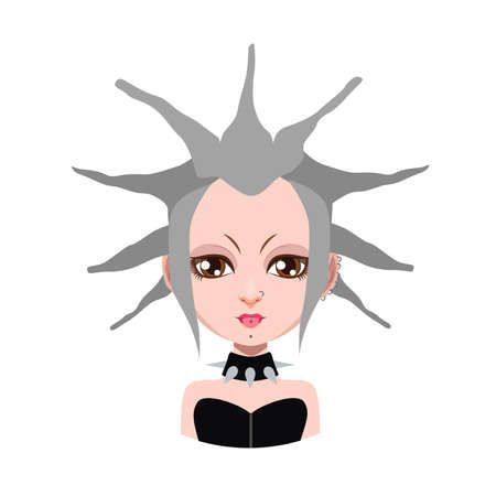 gray hair: Girl with extreme hairstyle - gray hair color