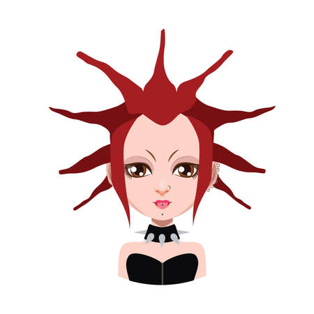 red hair: Girl with extreme hairstyle - red hair color
