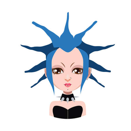 blue hair: Girl with extreme hairstyle - blue hair color