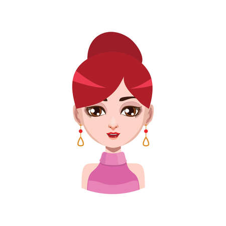 red hair: Elegant woman with earrings - red hair color Illustration