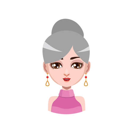 gray hair: Elegant woman with earrings - gray hair color