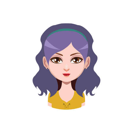Long haired girl with headband - violet hair color