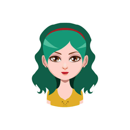 long haired: Long haired girl with headband - green hair color