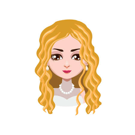 curly hair: Elegant woman with curly hair - Illustration
