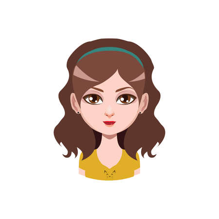 brown haired girl: Long haired girl with headband - brown hair color Illustration