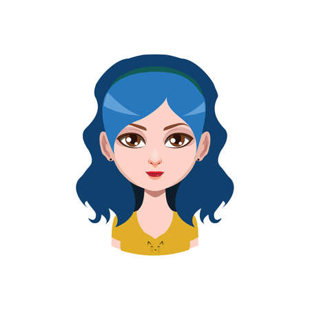 Long haired girl with headband - blue hair color