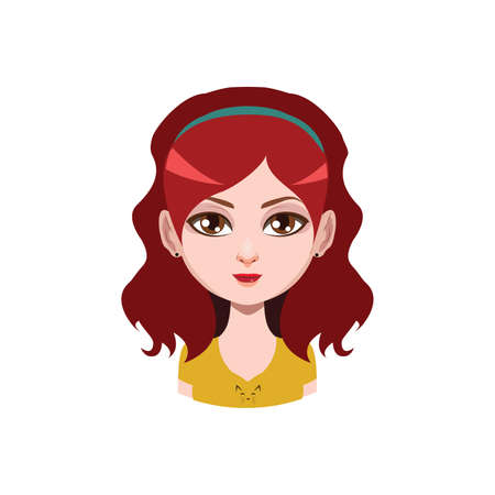 red haired: Long haired girl with headband - red hair color Illustration