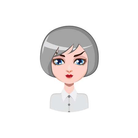 hair color: Casual woman with bob cut - gray hair color
