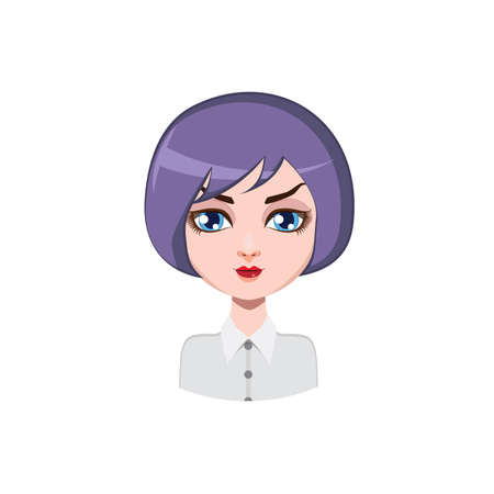 hair color: Casual woman with bob cut - violet hair color Illustration