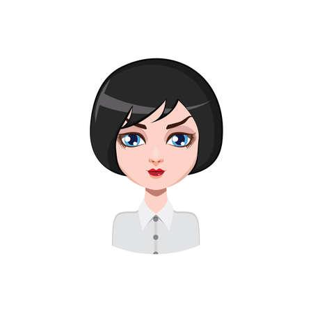 hair color: Casual woman with bob cut - black hair color