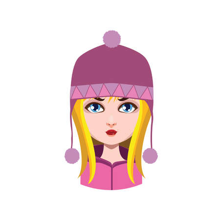 hair color: Girl with winter hat - blonde hair color Illustration