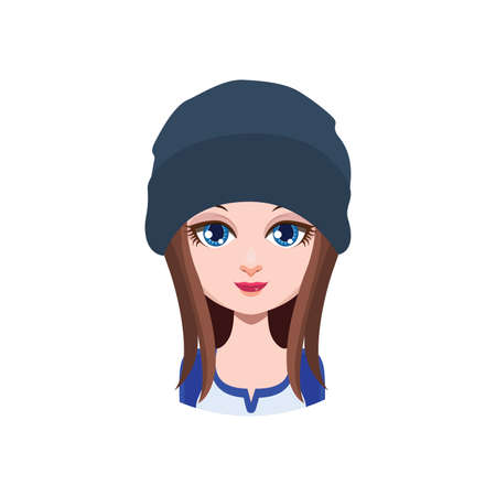 long haired: Long haired girl with beanie - Illustration
