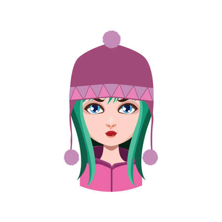 green hair: Girl with winter hat - green hair color