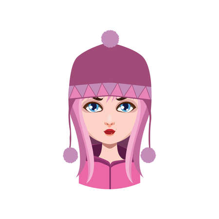 hair color: Girl with winter hat - pink hair color