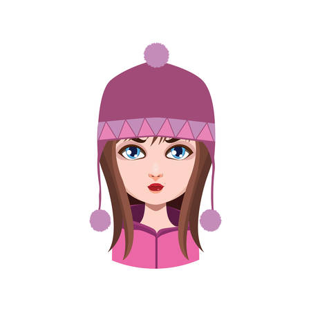 hair color: Girl with winter hat - brown hair color