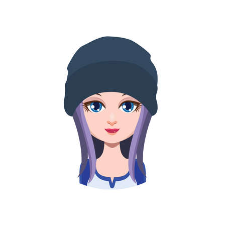 beanie: Long haired girl with beanie - Illustration
