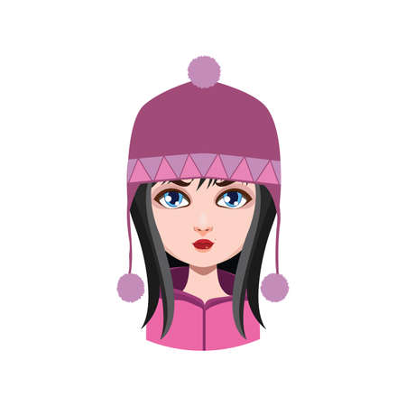 black hair: Girl with winter hat - black hair color