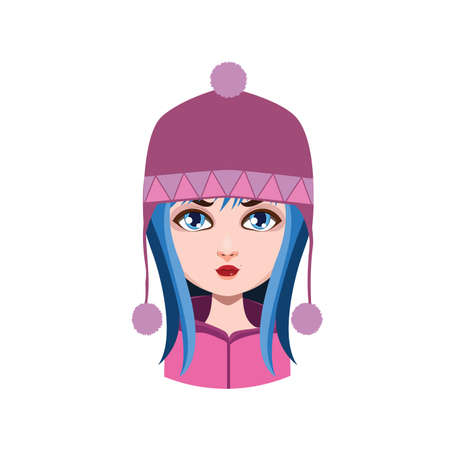 winter girl: Girl with winter hat - blue hair color