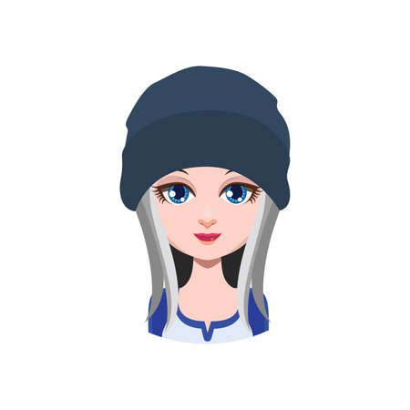 beanie: Long haired girl with beanie - gray
