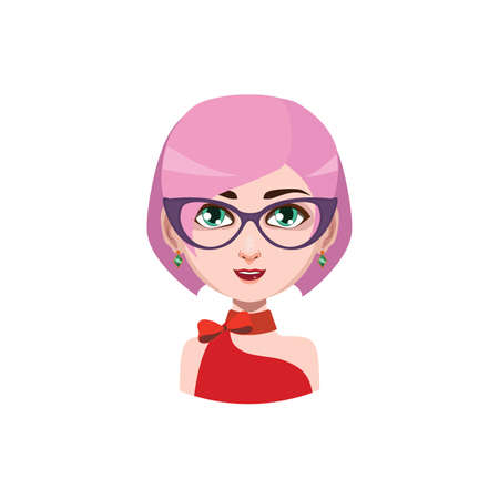 hair color: Elegant woman with glasses - pink hair color Illustration