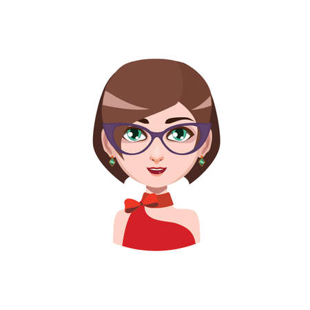 hair color: Elegant woman with glasses - brown hair color