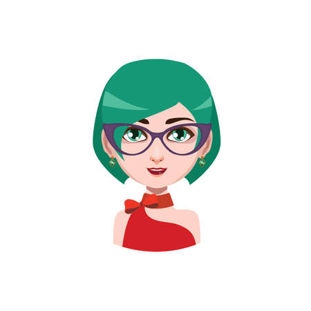 green hair: Elegant woman with glasses - green hair color