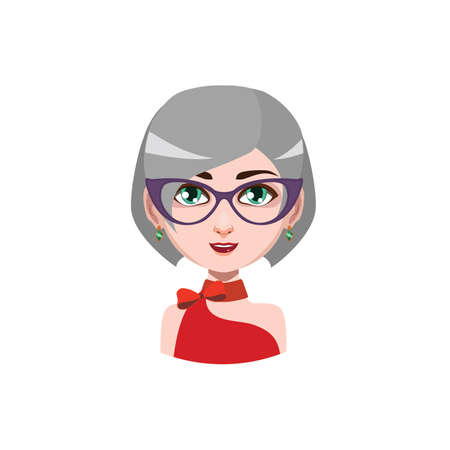 gray hair: Elegant woman with glasses - gray hair color Illustration