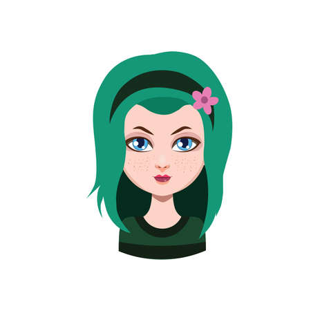 long haired: Casual long haired girl - green hair color Illustration
