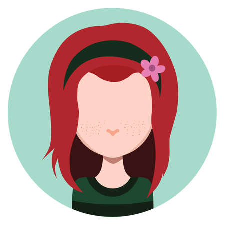 long haired: Long haired girl with headband - flat avatar