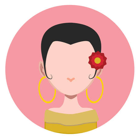 stylish hair: Girl with stylish short hair - flat avatar Illustration